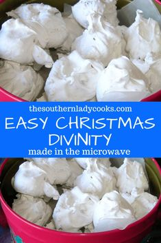 EASY CHRISTMAS DIVINITY - The Southern Lady Cooks This divinity is so easy to make in the microwave and so good. You won't ever make it any other way again! Makes a great gift, too. Easy Christmas Candy Recipes, Easy Candy Recipes, Holiday Candy, Christmas Snacks, Christmas Cooking, Fudge Recipes, Holiday Desserts, Holiday Baking, Holiday Recipes
