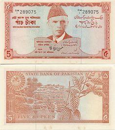 Pakistan  5 Rupees (1972-78) (Mohammed Ali Jinnah)
