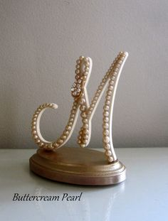 """Rustic Wedding Cake Topper """"READY TO PURCHASE"""" Monogram Letter M// Vintage Pearl & Gold Rhinestones//Country, Shabby Chic Bridal Shower Gift"""