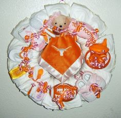 baby wreath pinterest   Texas Longhorns diaper wreath for baby girl   Baby Diaper Wreaths a...