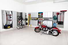 Beautiful Bike Rack Garage technique Salt Lake City Contemporary Garage And Shed Decorators with Cabinetry cabinets garage Home hook hooks organization organize shed shelf shelves shelving Slat Wall Garage Wall Storage, Wall Storage Systems, Storage Solutions, Garage Organization, Organization Ideas, Organizing, Clean Garage, Small Garage, Diy Projects Apartment
