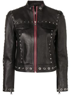 Shop online black Karl Lagerfeld Studded Leather Jacket as well as new season, new arrivals daily. Studded Leather Jacket, Leather Jacket Outfits, Men's Leather, Karl Lagerfeld, Philipp Plein Jacket, Fendi, Blazers, Spring Jackets, Classic Leather