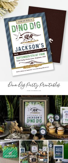 Dinosaur Party Printables. Signs and Decor for a Dino Dig themed birthday party or a Paleontologist Birthday!