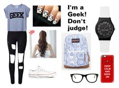 """""""I'm a Geek. Don't judge!"""" by mtvlover27 ❤ liked on Polyvore featuring Casetify, Muse, WithChic, Pin Show, Converse, JanSport and meetme"""