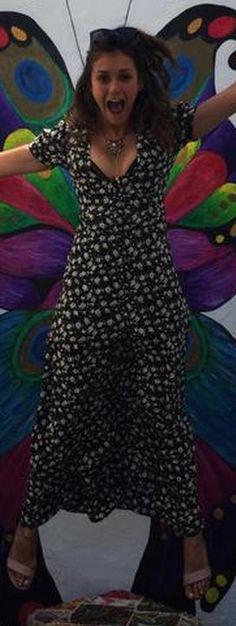 eb9f3e1f89a Who made Nina Dobrev s black print dress  Nina Dobrev Style