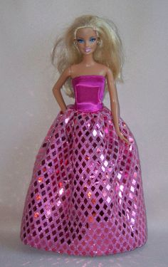 Handmade Barbie Clothes Raspberry Satin by PersnicketyGrandma, $12.00