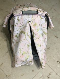 Marble gold car seat canopy carseat cover pink and gold