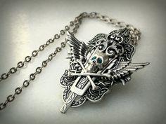 Blue Eyes Gothic Silver Skull Necklace by LeBoudoirNoir on Etsy, $65.00