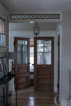 Stained glass over doorways.  Great doors for studio.