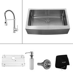 KRAUS All-in-One Farmhouse Apron 33x20-3/4x10 0-Hole Single Bowl Kitchen Sink with Kitchen Faucet in Chrome-KHF200-33-KPF1612-KSD30CH at The Home Depot