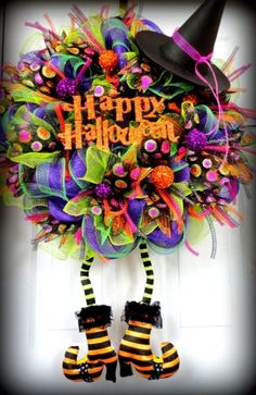 HUGE Wicked Witch Halloween Deco Mesh Wreath - Witch Wreath - Halloween Decor - Witch Leg and Witch Hat Wreath - Fall Deco Mesh on Etsy, $160.00 by lorrie