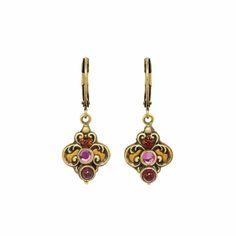 Spade earrings. Garnet embedded in 24K gold plated setting. Handmade by Michal Golan in NYC.