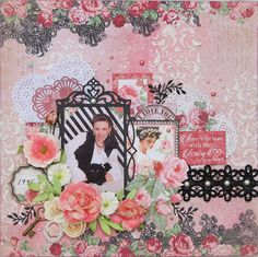 Scraps of Darkness scrapbook kits: Kathy Mosher created this sweet pink and black layout using Jan. Beloved kit. Subscribe to our kits today and receive a new box of coordinated mixed media scrapbooking fun delivered to you each month. www.scrapsofdarkness.com