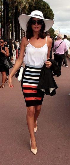#street #style striped pencil skirt @wachabuy