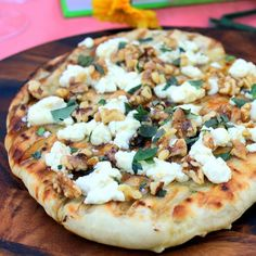 Inspired By eRecipeCards: Pizza Party Pizza... Walnut, Goat Cheese, and Honey Pizza on the Grill
