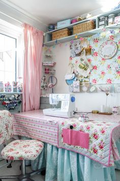 Shabby Chic Sarah - Sewing Room  I love the shelves on upper wall