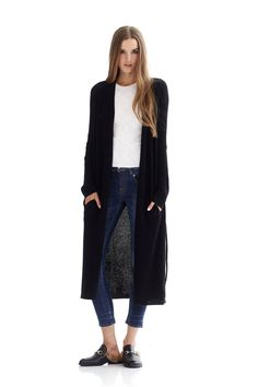 380 grams of pure cashmere in 5-gauge knit Knit fabric Long open-front cardigan Side pockets Tie belt closure Hand Wash Naked or Dry Clean Only