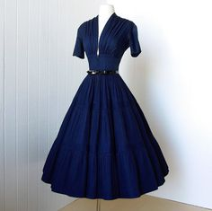vintage 1940's dress ...vavavoom forties navy cotton by traven7