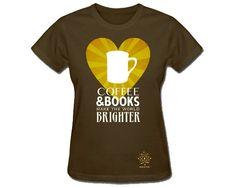 Coffee & Books Womens T-Shirt, Library Reading Tshirt, I Love Books, Librarian Tshirt, Bookworm, Nerdy Shirt, Short Sleeve S M L Xl Xxl
