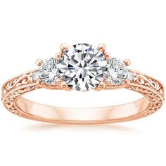 14K Rose Gold Antique Scroll Three Stone Trellis Ring (1/3 ct. tw.) from Brilliant Earth