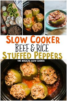 Slow Cooker Beef and Rice Stuffed Peppers are wonderful classic meal that is easily made in the slow cooker. Crockpot Dishes, Crock Pot Slow Cooker, Crock Pot Cooking, Beef Dishes, Slow Cooker Recipes, Crockpot Recipes, Cooking Recipes, Stuffed Peppers With Rice, Slow Cooker Stuffed Peppers