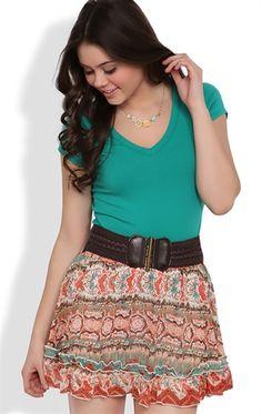 Ruffle Chiffon Skirt with Tribal Print and Belt