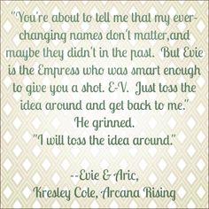 Evie and Aric, Arcana Chronicles, Arcana Rising by Kresley Cole