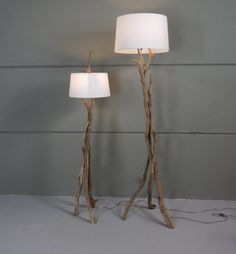 Floor lamp with pure white Vino caps, on old Oak branch. made by GBHNatureArt