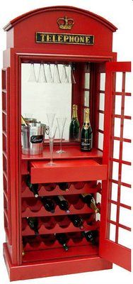 Red London phone booth as wine storage. Some inspiration if you really want to incorporate the phone booth idea in your pub. Retro Furniture, Unique Furniture, Futuristic Furniture, Plywood Furniture, Furniture Design, London Phone Booth, Wine Cabinets, Wine Storage, Caves