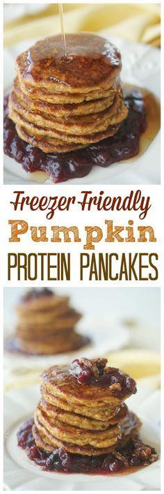 Try my Freezer Friendly Gluten Free Pumpkin Protein Pancakes! #recipe #TheRecipeRedux