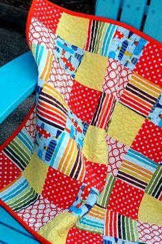 Baby Airplane Stroller Quilt, Modern Quilt, Doll Quilt. $50.00, via Etsy.