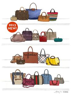 Designer Dream Purse and Handbag Closet Oversized Archival Fashion  Illustration Print  Hermes Birkin e8116f705f1a7