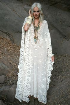 Vintage cotton lace caftan scalloped wedding dress kaftan design idea // Mykonos Kaftan