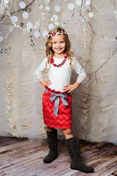 Taylor Joelle Designs - red chevron skirt on sale for $20