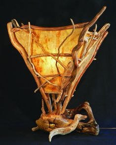 david cary driftwood and rice paper lamp