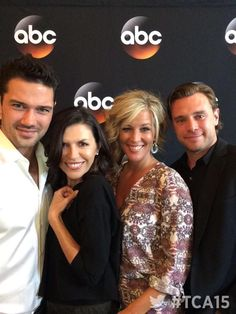 Ryan Paevey, Finola Hughes, Laura Wright and Billy Miller at ABC Publicity party. (@ABC_Publicity) | Twitter