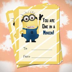 DIY Digital file Kids Despicable Me Minion Valentine Cards- Valentines- Printable Valentine Card listing