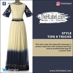 Set New #Trends with Ombre Lehengas!  This Holi, choose ombre lehengas to look #Beautiful. Don this ivory-white and navy blue lehenga and add #Elegance to your look. #Style this outfit with statement earrings, a potli bag and a pair of #Wedges.  Shop this style trend only at www.thehlabel.com  #StyleTips #TheHLabel Navy Blue Lehenga, Ivory White, Statement Earrings, Holi, Cool Designs, Ethnic, Wedges, Saree, Fashion Tips