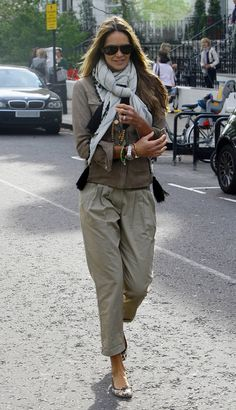 Day 12  inspiration from Elle McF  i am thinking pumps, tapered cargos, sand biker jacket and colourful scarf   plus lots of wrist wear.
