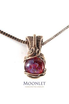 by MOONLET HANDCRAFTED JEWELRY Pink Floral Glass Antique Copper Pendant Necklace Wire Wrap Jewelry