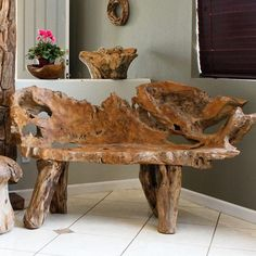 Find the unique and exotic with this Habini Teak Bench from Om Gallery. Choose from a dazzling selection of fair trade products from jewelry to garden décor and home lighting! Live Edge Furniture, Diy Furniture Plans, Teak Furniture, Homemade Furniture, Furniture Assembly, Furniture Removal, Furniture Logo, Baby Furniture, Luxury Furniture