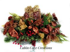 Christmas Centerpiece Holiday Silk Floral by cabincovecreations