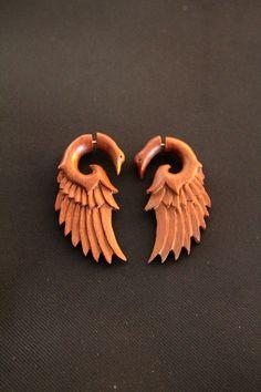 Wings Fake Gauges Earring, Wooden Bird Wings Fake Piercing Wooden Earrings Made from Saba Wood Fake Gauges, Fake Piercing, Ear Piercings, Fake Gauge Earrings, Bird Wings, Wooden Bird, Wooden Earrings, Bone Carving, Tribal Fashion
