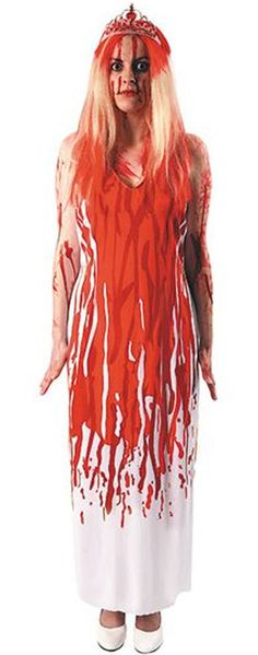Official Carrie costume from the film adaption of the book by Stephen King. This costume features a blood-stained effect white prom dress with tiara and blood streaked wig! Perfect for a scary costume this Halloween £29.95