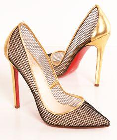 { christian louboutin }, dourado, preto, furinos, sapato