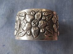 Vintage Mexican Silver Repousse Cuff by abroochable on Etsy, $375.00
