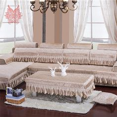 Sectional Slipcovers With Lace Patchwork