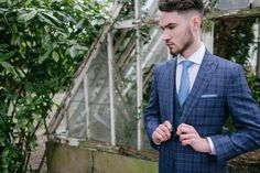 Cerimonia 3-piece blue check wool and silk suit in luxury Italian fabric