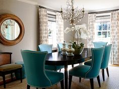 Love! Especially the teal chairs. Angela Camarda for Lillian August
