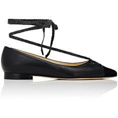 Sarah Flint Lily Ankle-Tie Flats ($625) ❤ liked on Polyvore featuring shoes, flats, black, black pointy toe flats, slip on flats, black slip-on shoes, slip on shoes and black pointed toe flats